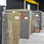 stacks of granite slabs