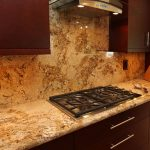 beige kitchen counters and backsplash