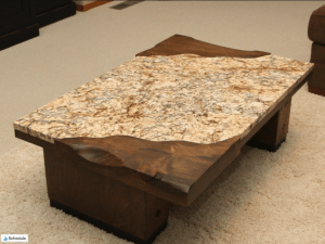 Gorgeous Wood and Granite End Table