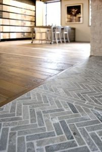 Grey herringbone kitchen floors.