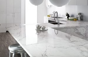 a beautiful white caesarstone countertop with sink