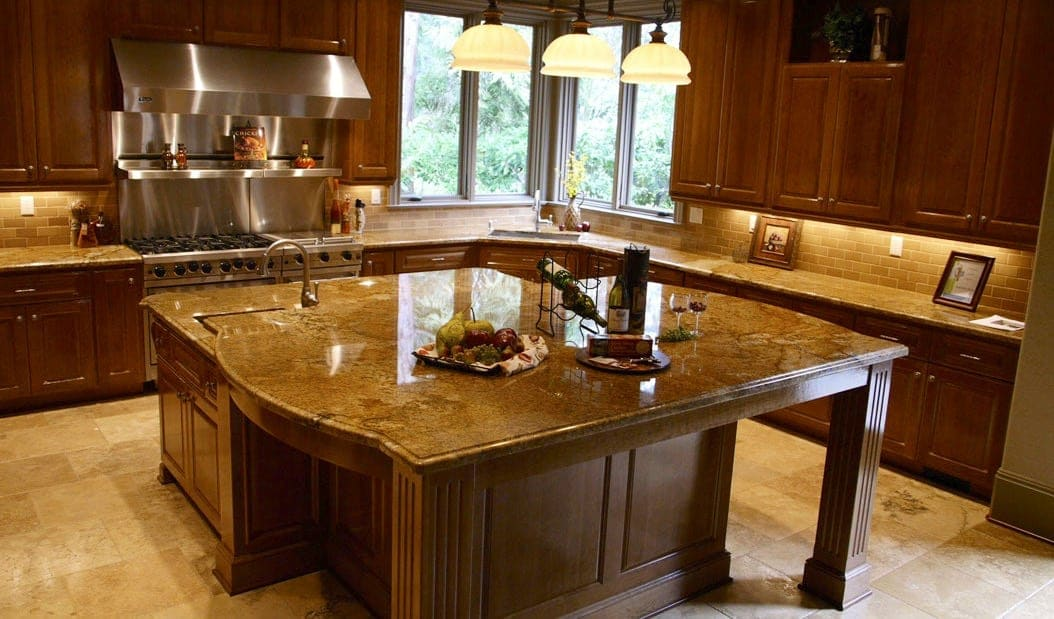 a gorgeous granite countertop with matching island